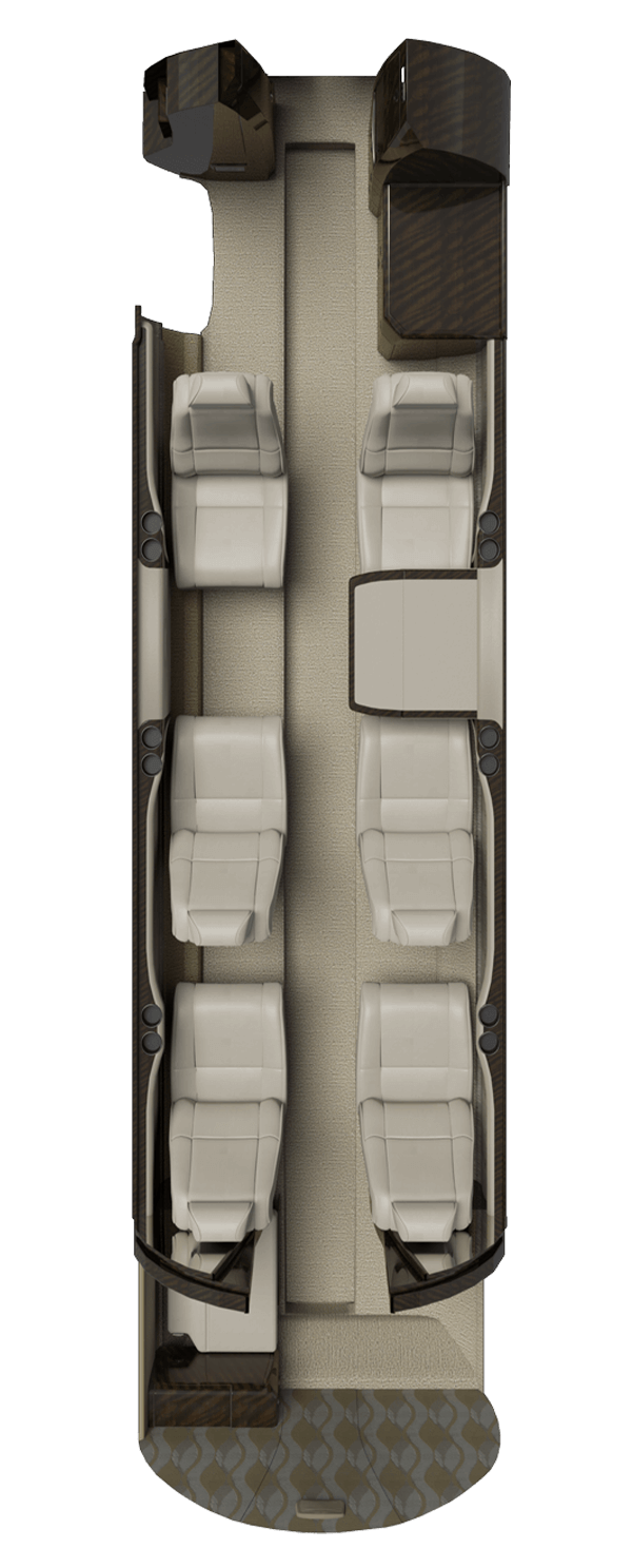 3D floor plan showing the layout of the Cessna CJ3+.