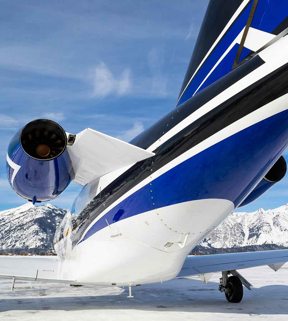 View of a Cessna CJ3+ in the snow.